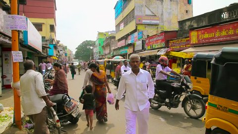 CHENNAI, INDIA - APRIL 03, 2018: A busy and candid street scene in a market district of Chennai, India