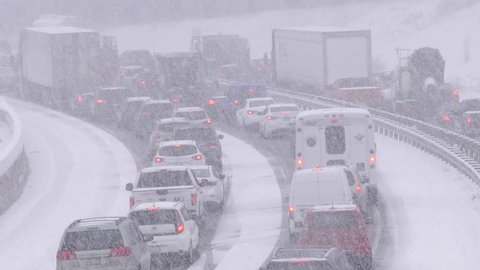 Waterloo, Ontario, Canada March 2018 Blizzard with traffic jam and highway gridlock in winter snow storm