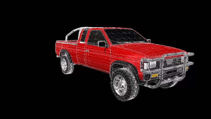 A three-dimensional model of a red pickup truck in the form of a polygon mesh object with textur. The camera moves makes around.