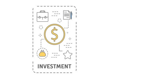 Startup line flat animation. Idea and plan, marketing, investment and growth. Motion graphic.