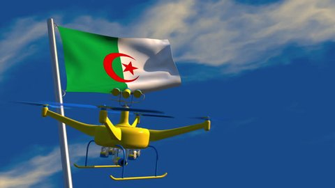 3D animation of a UAV drone watching an Algerian flag waving on a flagpole; depicting the increased use of surveillance for security purposes.