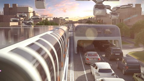 Urban transport of the future. View of the sunset. 3d animation. 4k