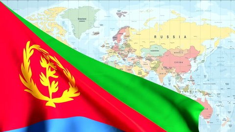 The waving flag of Eritrea opens up the view to the position of Eritrea on a colored world map