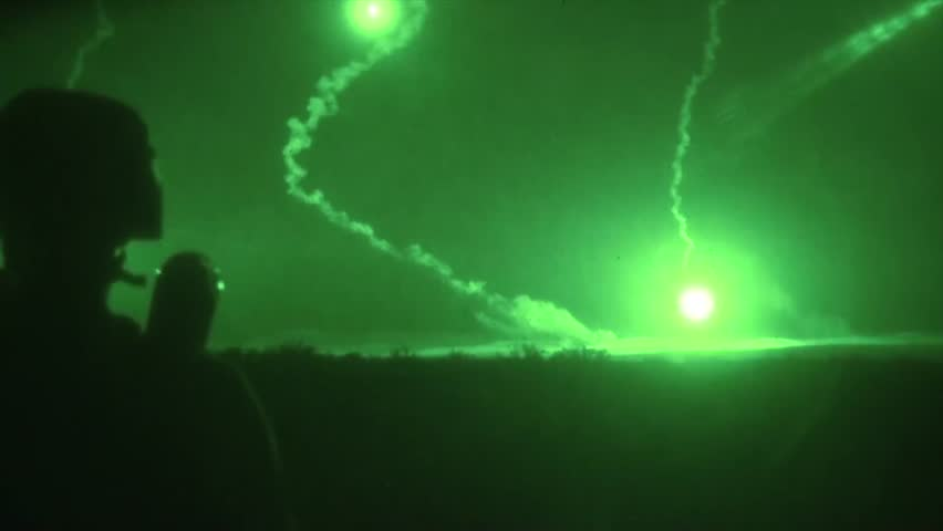 North Carolina, The United States - August 12, 2015: Night vision of American soldiers during attack training exercises
