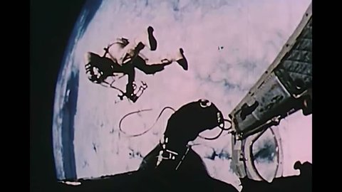 CIRCA 1969 - Astronauts experience weightlessness in outer space.