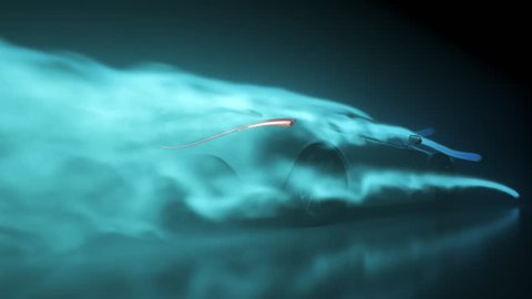03282 Concept super sport car testing aerodynamics inside wind tunnel.