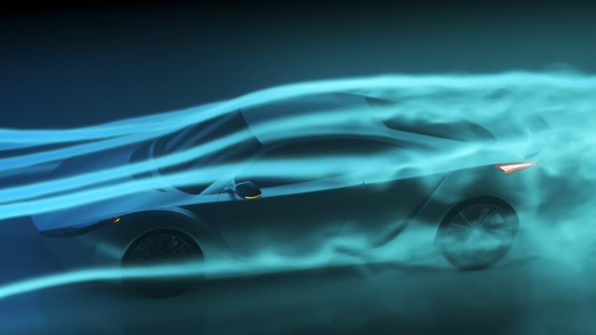 03283 Concept super sport car testing aerodynamics inside wind tunnel.