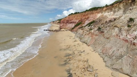 Aerial view of Ostras Beach cliffs on the north coast of Prado, Costa das Baleias (Wales Coast), Bahia, Brazil