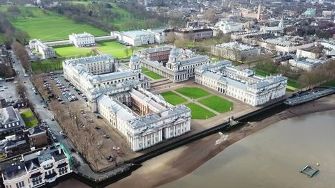 March 2018: Aerial bird's eye view video taken by drone of iconic Greenwich University and Park of Greenwich, London, United Kingdom