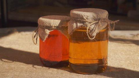 Jars of honey. Different types of honey.  Closeup