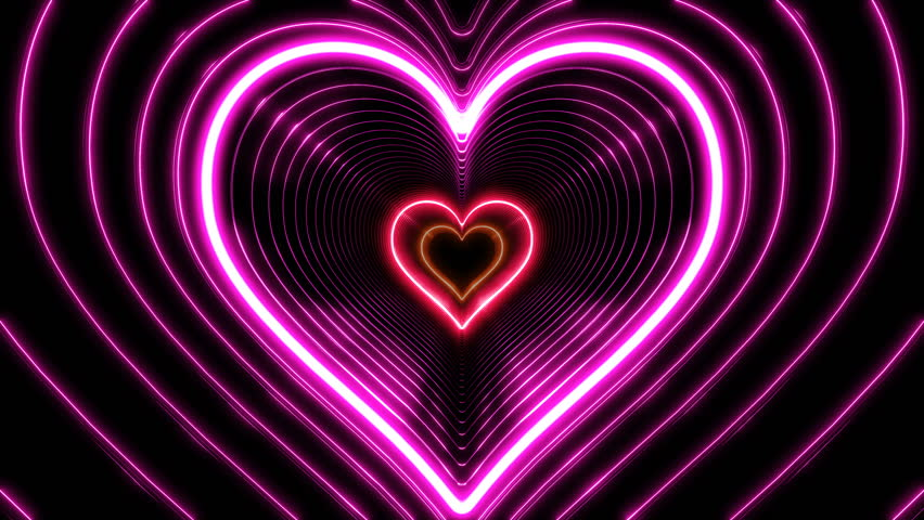 Beautiful Abstract Hearts Tunnel with Light Lines Moving Fast. Different Colors Rainbow. Flying Through the Neon Background Futuristic Tunnel. Looped 3d Animation. 4K Ultra HD 3840x2160.
