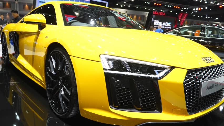 Yellow Audi R8 Coupe Displayed Stock Footage Video 100 Royalty