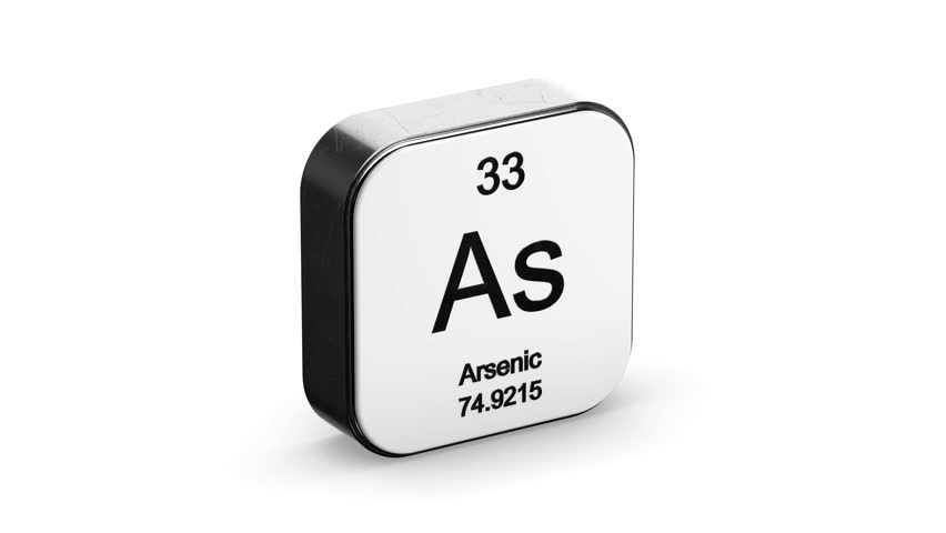 Arsenic element symbol from the periodic table on white metallic rounded square icon