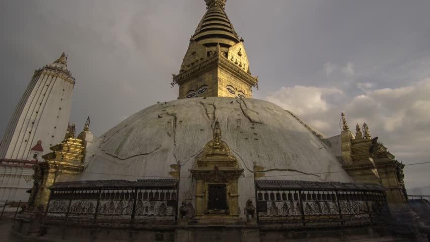 Kathmandu Nepal - Swayambhunath Temple Stupa - Cloudy Time Lapse