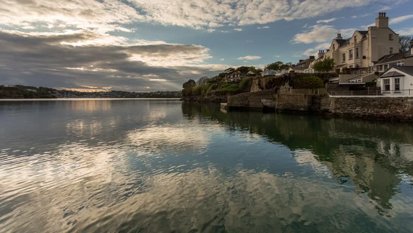 4k time lapse dusk over Kinsale harbour, Ireland