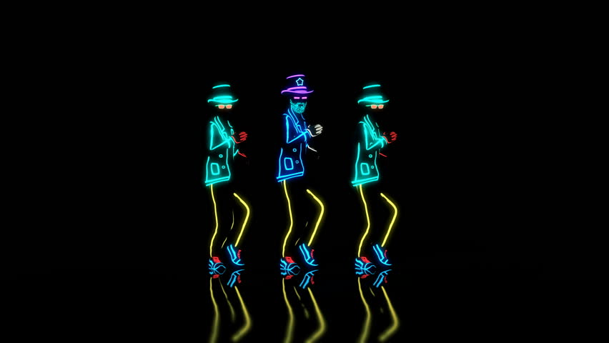 The dance group performs a modern house dance in complete darkness in custom made neon glowing costumes, synchronized with choreography movements. Seamless looping animation, 3D render.