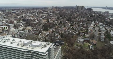 Aerial Along River Road, Cliffside, Edgewater, New Jersey, February 2018