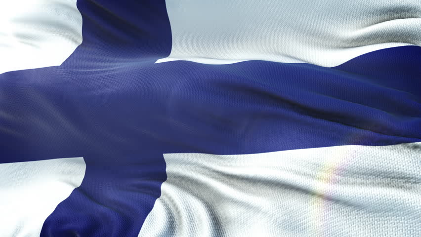 Flag of Finland waving on sun. Seamless loop with highly detailed fabric texture. Loop ready in 4k resolution.