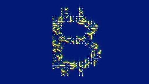 4k a futuristic circuit board with moving electrons shaped bitcoin currency sign,block chain,abstract electronic connections,Cripto currency bitcoin.Global internet finance,worldwide. cg_04774_4k