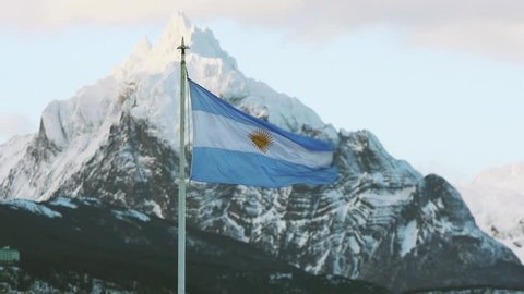 Argentina Flag in Ushuaia, Tierra del Fuego. Zoom Out.