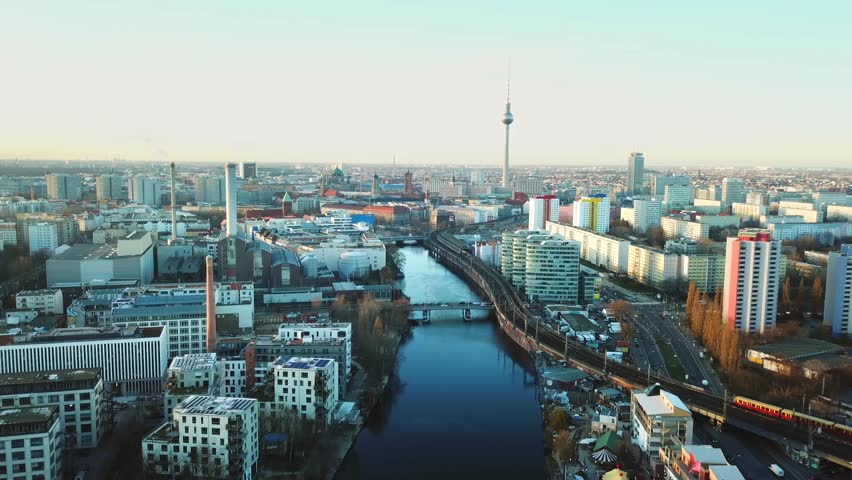 Berlin, Germany. Aerial shot of TV Tower on Alexanderplatz  | Shutterstock HD Video #1009807418