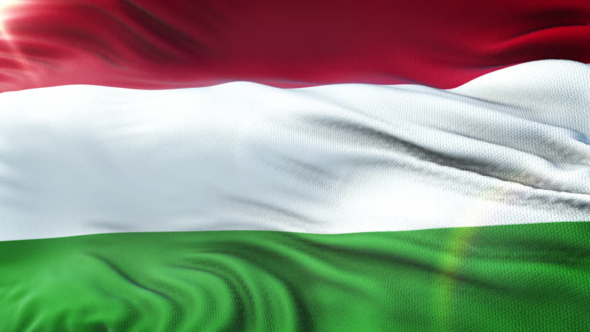 Flag of Hungary waving on sun. Seamless loop with highly detailed fabric texture. Loop ready in 4k resolution.