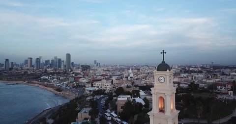 Jaffa Israel sunset 4k aerial drone footage