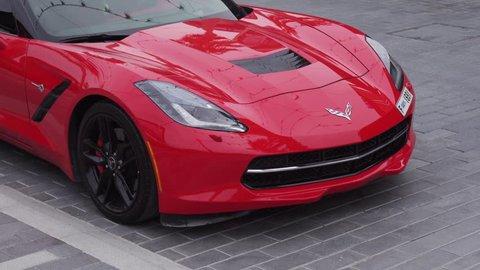 Dubai, UAE - April 09, 2018: Chevrolet Corvette sports car in the new beach and entertainment space La Mer opens to Dubai public stock footage video