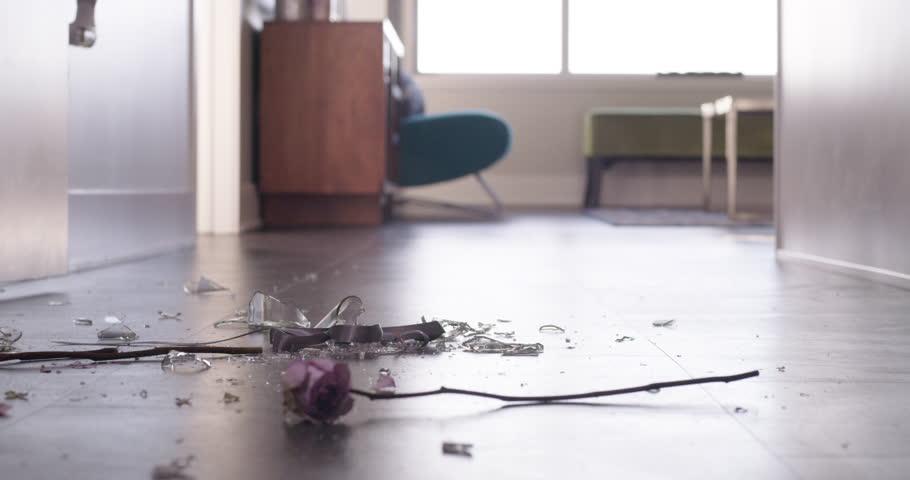 Flower and Vase break on floor heart broken divorce metaphor