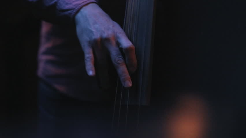 Male hand on electric upright bass. | Shutterstock HD Video #1009845698