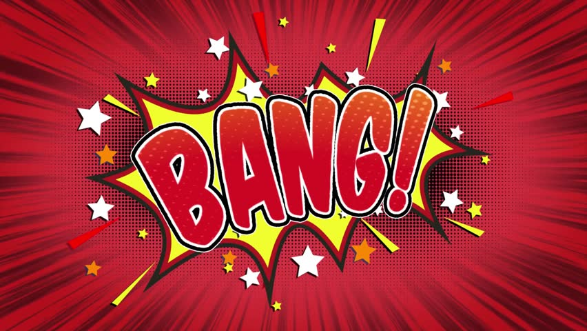 Bang Word Retro Cartoon Comic Bubbles Popup Style Expressions Colored Bomb and Smoke Strip Dotted and red Speed Radial line Seamless loop Animation black / green screen 4k doodle background.01