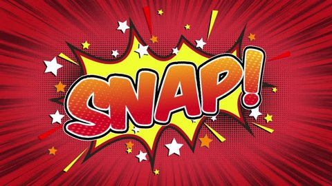 Snap Word Retro Cartoon Comic Bubbles Popup Style Expressions Colored Bomb and Smoke Strip Dotted and red Speed Radial line Seamless loop Animation black / green screen 4k doodle background. 28