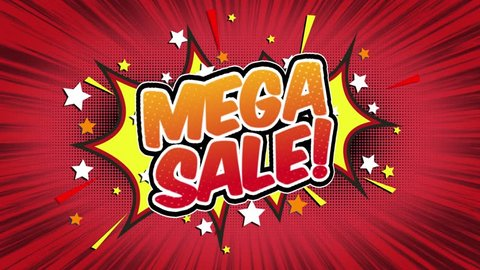 mega sale Word Retro Cartoon Comic Bubbles Popup Style Expressions Colored Bomb and Smoke Strip Dotted and red Speed Radial line Seamless loop Animation black / green screen 4k doodle background. 56