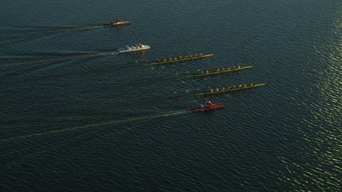 Boston, USA - November, 2017: Aerial view of competition racing in rowing boats on the Charles river Massachusetts America