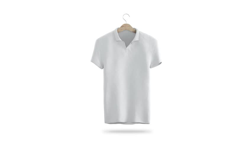 Blank white shirt with hanger rotation mock up, isolated, 3d rendering. Turns tshirt on rack. Empty sport t-shirt clothing