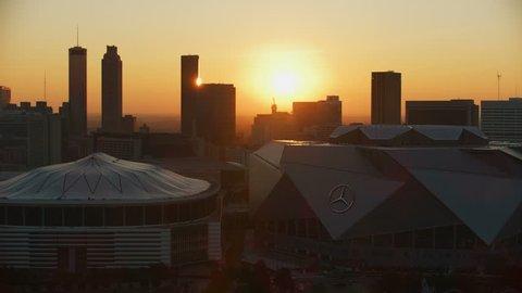 Atlanta - November 2017: Aerial dawn sunrise view of the retractable roof of Mercedes Benz Stadium home to Atlanta Falcons National Football League Georgia America