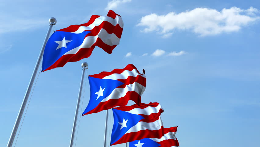 Waving flags of Puerto Rico against the sky, loopable 3D animation | Shutterstock HD Video #1009935068