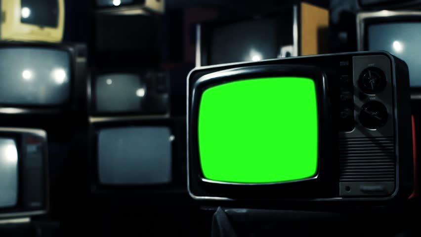 Vintage 80s Tv with Green Screen. Ready to replace green screen with any footage or picture you want. Iron Tone. Zoom Out. | Shutterstock HD Video #1009948028