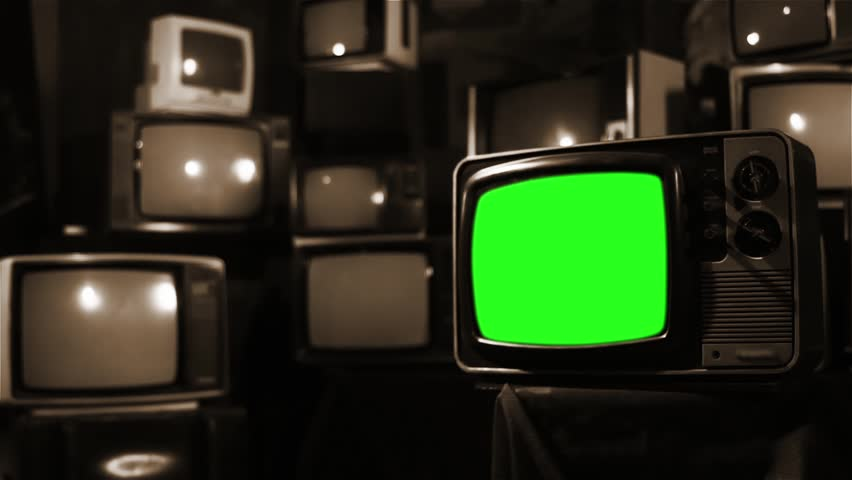 Vintage 80s Tv with Green Screen. Ready to replace green screen with any footage or picture you want. Sepia Tone. Zoom In. | Shutterstock HD Video #1009948088