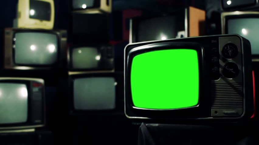 Vintage 80s Tv with Green Screen. Cross Tone. Zoom Out. Ready to replace green screen with any footage or picture you want.  | Shutterstock HD Video #1009948238