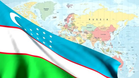 The waving flag of Uzbekistan opens up the view to the position of the Uzbekistan on a colored world map