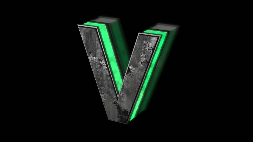 Futuristic letter V - volumetric rusty metal letter with green light outline glowing in the dark 3D animation