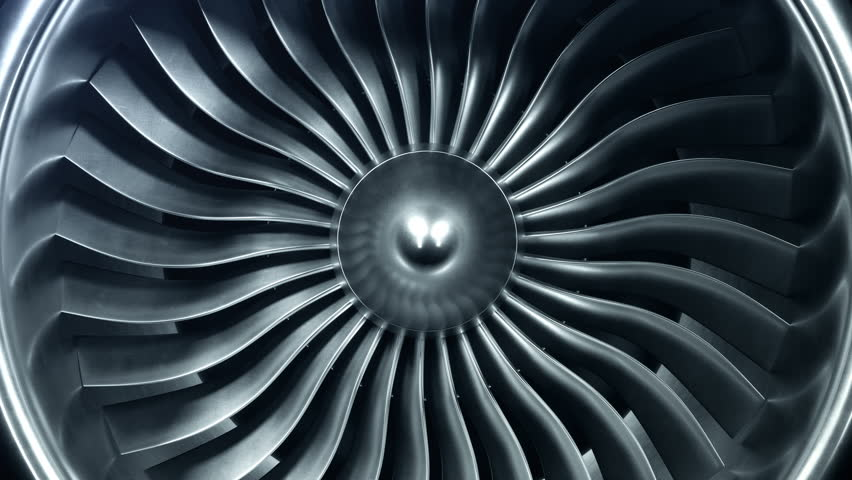 3D Rendering jet engine, close-up view jet engine blades. 4k animation | Shutterstock HD Video #1009955588