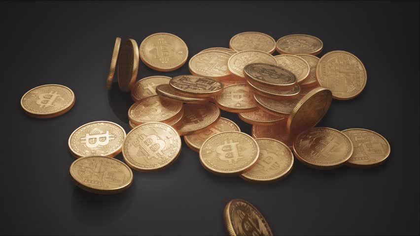 Huge Pile of Physical Golden Bitcoins falling in Slow Motion to the Ground. Close-Up Shot of Digital Cryptocurrency Coins. 4K, 60 FPS, Super Slow Motion 1/10th Playback Speed. | Shutterstock HD Video #1009960748
