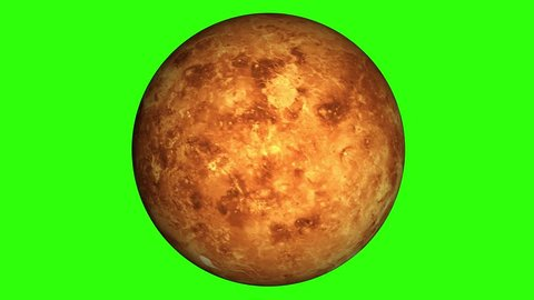 Beautiful planet of Venus animation in green screen. Evening star Venus is rotating. Milky Way galaxy's hot planet of Venus.