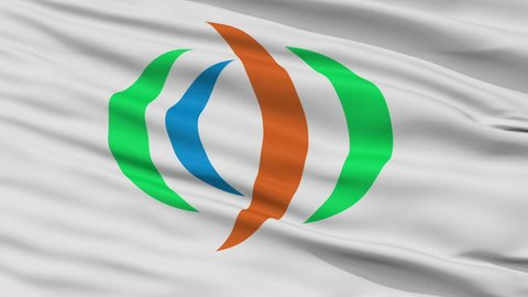 Yuzawa close up flag, Akita prefecture, realistic animation seamless loop - 10 seconds long