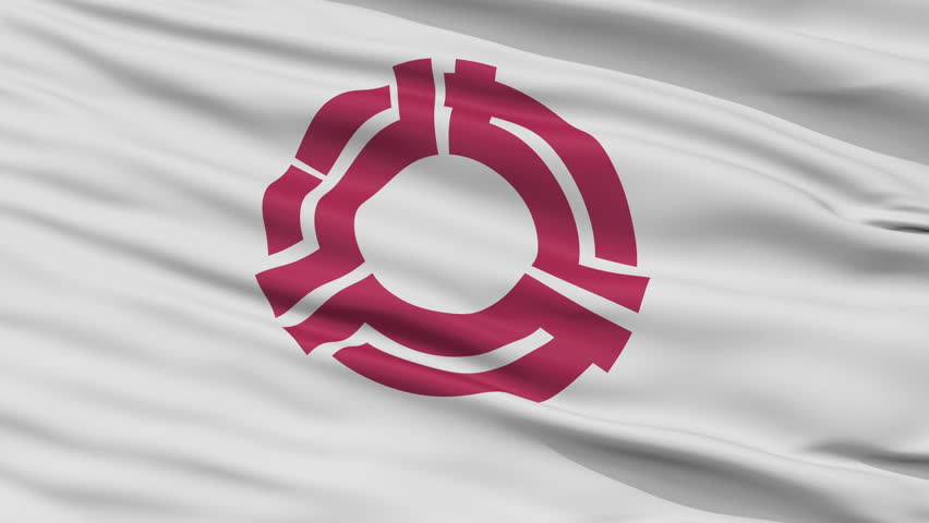Yaizu close up flag, Shizuoka prefecture, realistic animation seamless loop - 10 seconds long