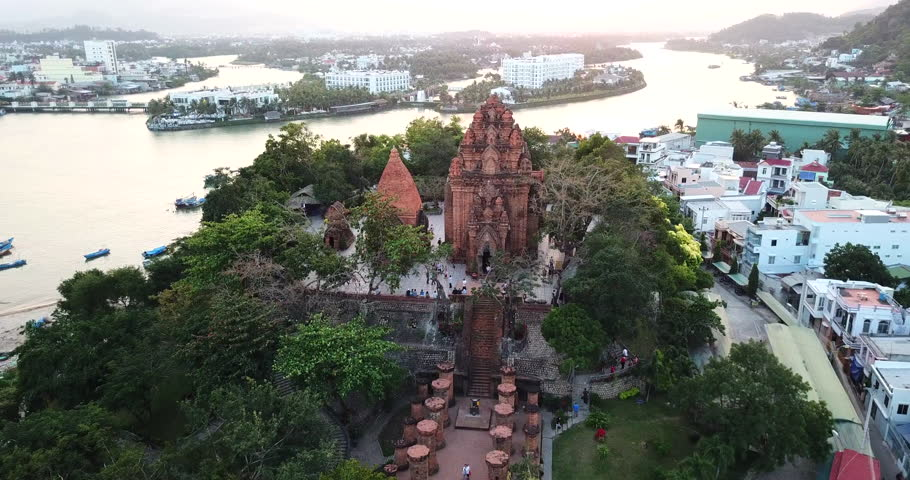 AERIAL 4K: View on the ancient towers of po Nagar,the most populat tourist destination in Nha Trang city, Vietnam
