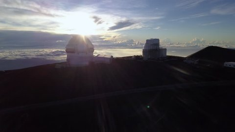 Aerial Sunrise over the Gemini North Telescope of Mauna Kea Astronomical Observatory, Hawaii. USA