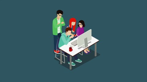 Brainstorming creative team animation 4K video. Discussion people flat 3d isometric cartoon animated concept. Teamwork staff around table chief art director designer programmer.